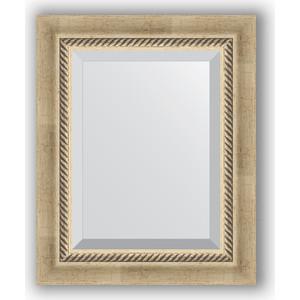 Зеркало с фацетом в багетной раме Evoform Exclusive 43x53 см, состаренное серебро с плетением 70 мм (BY 1354) зеркало с фацетом в багетной раме поворотное evoform exclusive 53x83 см прованс с плетением 70 мм by 3407