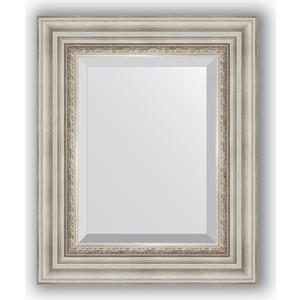 Зеркало с фацетом в багетной раме Evoform Exclusive 46x56 см, римское серебро 88 мм (BY 1369) зеркало evoform by 3372