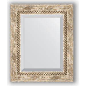 Зеркало с фацетом в багетной раме Evoform Exclusive 43x53 см, прованс с плетением 70 мм (BY 3355) зеркало с фацетом в багетной раме поворотное evoform exclusive 53x83 см прованс с плетением 70 мм by 3407