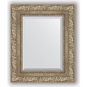 Зеркало с фацетом в багетной раме Evoform Exclusive 45x55 см, виньетка античное серебро 85 мм (BY 3357) зеркало с фацетом в багетной раме поворотное evoform exclusive 60x145 см виньетка античное серебро 85 мм by 3539