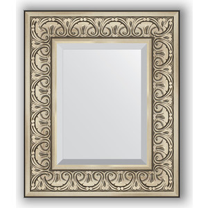 Зеркало с фацетом в багетной раме Evoform Exclusive 50x60 см, барокко серебро 106 мм (BY 3372) evoform exclusive by 1161