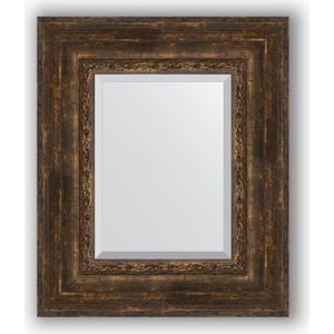 Зеркало с фацетом в багетной раме Evoform Exclusive 52x62 см, состаренное дерево с орнаментом 120 мм (BY 3378)