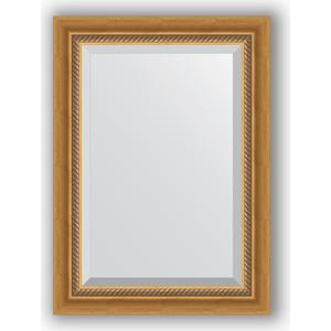Зеркало с фацетом в багетной раме поворотное Evoform Exclusive 53x73 см, состаренное золото с плетением 70 мм (BY 3379) зеркало с фацетом в багетной раме поворотное evoform exclusive 53x83 см прованс с плетением 70 мм by 3407