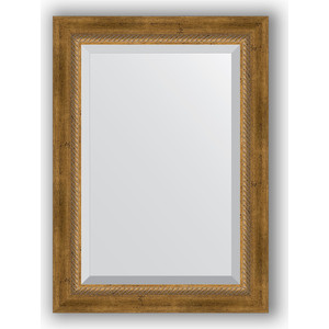 Зеркало с фацетом в багетной раме поворотное Evoform Exclusive 53x73 см, состаренное бронза с плетением 70 мм (BY 3380) зеркало с фацетом в багетной раме поворотное evoform exclusive 53x83 см прованс с плетением 70 мм by 3407