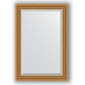 Зеркало с фацетом в багетной раме поворотное Evoform Exclusive 63x93 см, состаренное золото с плетением 70 мм (BY 3431) зеркало с фацетом в багетной раме поворотное evoform exclusive 53x83 см состаренное золото с плетением 70 мм by 3405