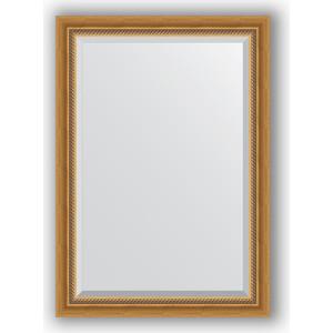 Зеркало с фацетом в багетной раме поворотное Evoform Exclusive 73x103 см, состаренное золото с плетением 70 мм (BY 3457) зеркало с фацетом в багетной раме поворотное evoform exclusive 53x83 см прованс с плетением 70 мм by 3407