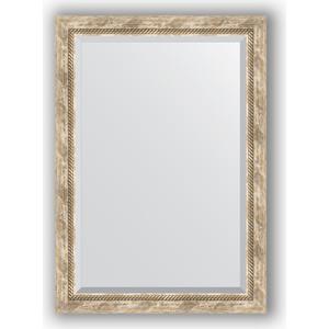 Зеркало с фацетом в багетной раме поворотное Evoform Exclusive 73x103 см, прованс с плетением 70 мм (BY 3459) зеркало с фацетом в багетной раме поворотное evoform exclusive 58x143 см прованс с плетением 70 мм by 3537