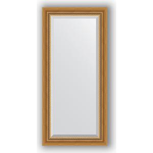 Зеркало с фацетом в багетной раме поворотное Evoform Exclusive 53x113 см, состаренное золото с плетением 70 мм (BY 3483) зеркало с фацетом в багетной раме поворотное evoform exclusive 53x83 см прованс с плетением 70 мм by 3407