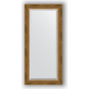 Зеркало с фацетом в багетной раме поворотное Evoform Exclusive 53x113 см, состаренное бронза с плетением 70 мм (BY 3484) зеркало с фацетом в багетной раме поворотное evoform exclusive 53x83 см прованс с плетением 70 мм by 3407