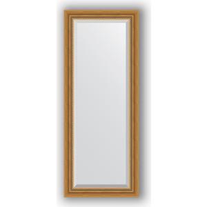 Зеркало с фацетом в багетной раме поворотное Evoform Exclusive 53x133 см, состаренное золото с плетением 70 мм (BY 3509) зеркало с фацетом в багетной раме поворотное evoform exclusive 53x83 см прованс с плетением 70 мм by 3407