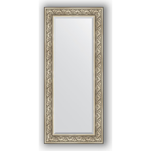 Зеркало с фацетом в багетной раме поворотное Evoform Exclusive 65x150 см, барокко серебро 106 мм (BY 3554) зеркало с фацетом в багетной раме поворотное evoform exclusive 53x83 см прованс с плетением 70 мм by 3407