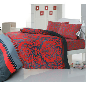 Комплект постельного белья Cotton Life 1,5 сп Damask красный (5900)