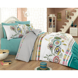 Комплект постельного белья Cotton Life 1,5 сп Energy бирюзовый (8024)