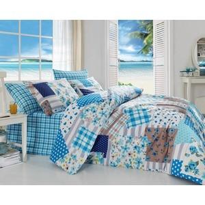 Комплект постельного белья Cotton Life 1,5 сп Patchwork голубой (8022)
