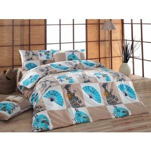 Комплект постельного белья Cotton Life 2-х сп Geysha бирюзовый (7624)