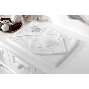 Полотенце-уголок Fiorellino Lovely Bear 90х90 см и варежка белый