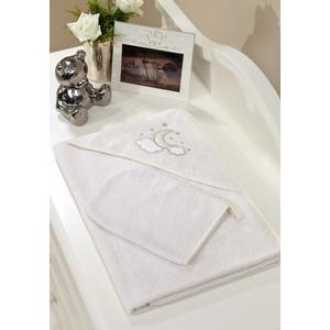 Полотенце-уголок Fiorellino Luna Elegant 90х90 см и варежка
