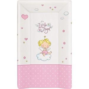 Матраc пеленальный Ceba Baby 70 см мягкий с изголовьем Little Angel white-pink W-103-008-007