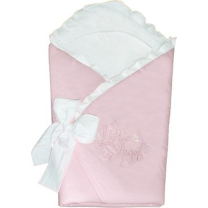 Одеяло-конверт Ceba Baby Little Angel white-pink вышивка W-810-008-007