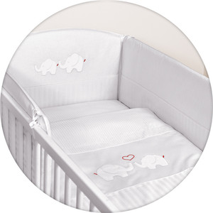 Постельное белье Ceba Baby 3 пр. Elephants white вышивка W-806-057-100