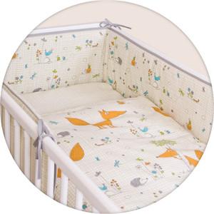 Постельное белье Ceba Baby 3 пр. Fox ecru Lux принт W-800-059-170_1 матраc пеленальный ceba baby 70 см мягкий с изголовьем fox ecru w 103 059 170