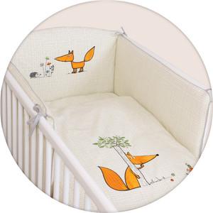 Постельное белье Ceba Baby 3 пр. Fox ecru вышивка W-801-059-170 матраc пеленальный ceba baby 70 см мягкий с изголовьем fox ecru w 103 059 170