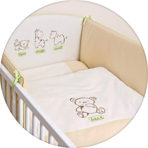 Постельное белье Ceba Baby 3 пр. Little Zoo beige вышивка W-801-015-112