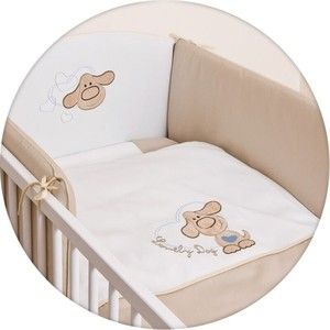 Постельное белье Ceba Baby 3 пр. Lovely Dog Beige вышивка W-806-009-112