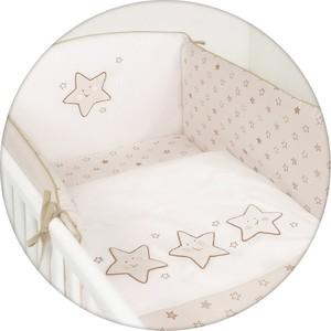 Постельное белье Ceba Baby 3 пр. Stars beige вышивка W-806-066-111