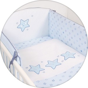 Постельное белье Ceba Baby 3 пр. Stars blue вышивка W-806-066-160 постельное белье ceba baby 3 пр magic tree blue lux принт w 800 072 160 1 э0000016405