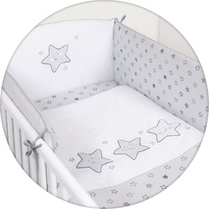 Постельное белье Ceba Baby 3 пр. Stars grey вышивка W-806-066-260 постельное белье ceba baby 3 пр magic tree blue lux принт w 800 072 160 1 э0000016405