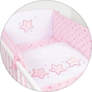 Постельное белье Ceba Baby 3 пр. Stars pink вышивка W-806-066-130 fashionable soft cotton hat for 0 3 years old baby pink