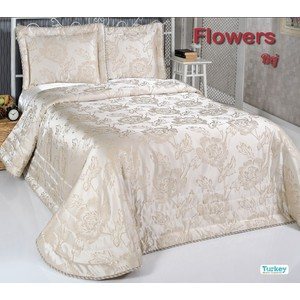 Покрывало Do and Co Flowers 240х260 + 2 наволочки 50х70 бежевый (9023)