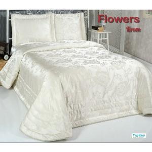 Покрывало Do and Co Flowers 240х260 + 2 наволочки 50х70 кремовый (9023)