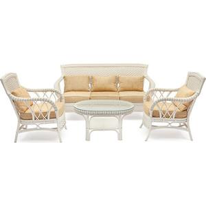 Комплект TetChair Andrea TCH White (диван + 2 кресла + журн. столик со стеклом + подушки)
