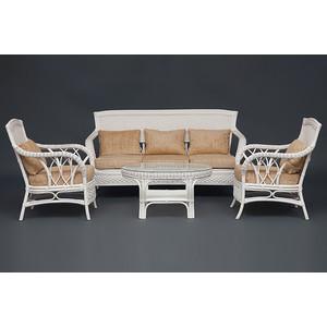 Комплект TetChair Andrea TCH White (диван + 2 кресла + журн. столик со стеклом + подушки) от ТЕХПОРТ