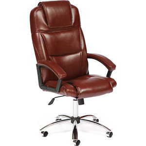 Кресло TetChair BERGAMO (хром) кож/зам коричневый 2 TONE