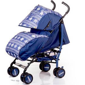 Коляска трость BabyHit Smiley синий с цветочным орнаментом