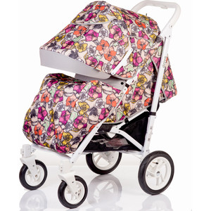 Коляска прогулочная BabyHit Drive цветы, белая рама
