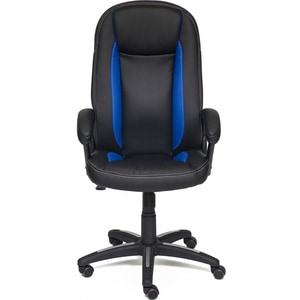 Кресло TetChair BRINDISI кож/зам, черный/синий/черный перфорированный, 36-6/36-39/36-6/06