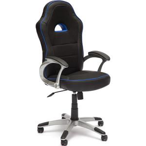 Кресло TetChair PILOT кож/зам+ткань, черный+синий, 36-6/JP15-2/36-39