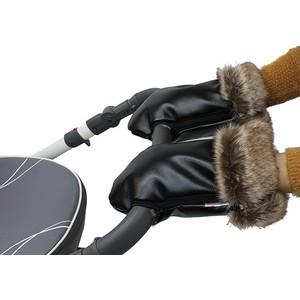 Варежки Vikalex Snow Dreams черная эко-кожа/коричневый мех