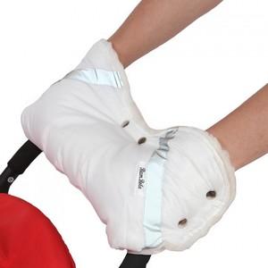 Муфта BamBola для коляски шерстяной мех/плащевка/кнопки Белая (053В)