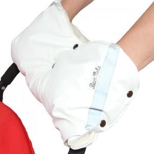 Муфта BamBola для коляски шерстяной мех/плащевка/кнопки кожа Белая муфты для рук bambola муфты варежки для коляски плащевка