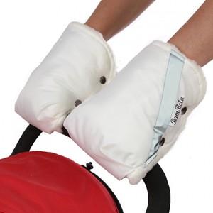 Муфта-варежки BamBola для коляски шерстяной мех/плащевка Белые
