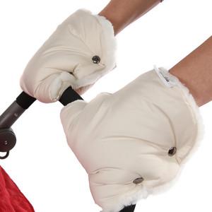 Муфта-варежки BamBola для коляски шерстяной мех/плащевка лайт Бежевые муфты для рук bambola муфты варежки для коляски плащевка