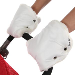 Муфта-варежки BamBola для коляски шерстяной мех/плащевка лайт Белые