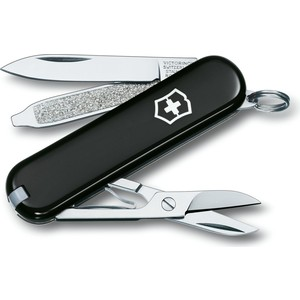 Нож перочинный Victorinox Classic 0.6223.3 (58мм 7 функций, черный) нож victorinox classic 0 6203 58мм 7 функц красный