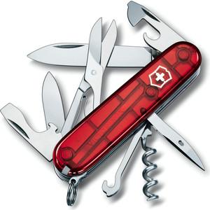 все цены на  Нож перочинный Victorinox Climber 1.3703.T (91мм 18 функций, полупрозрачный, красный)  онлайн