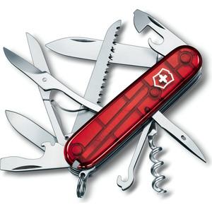 все цены на  Нож перочинный Victorinox Huntsman 1.3713.T (91мм, 15 функций, полупрозрачный красный)  онлайн